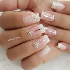 Hot Nails, Swag Nails, Pink Nails, Elegant Nails, Stylish Nails, Bridal Nails Designs, Nail Designs, Ongles Roses Barbie, Gorgeous Nails