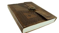 "Rustic Leather Diary Journal Antique Brown Embossed with Clasp Lock 9"" x 7.5"" Handmade Paper -- Be sure to check out this awesome product."