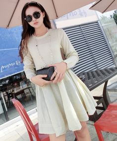 EC04460 Long sleeve long Korean style pullover fashion dress