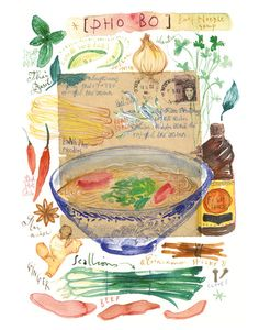 Asian recipe Kitchen art Vietnamese PHO BO Food illustration Beef noodle soup 8X10 print Watercolor illustrated recipe Travel poster Vietnam. $25.00, via Etsy.