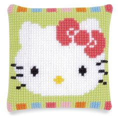 Hello Kitty® Face Quickpoint Pillow Top Kit - Cross Stitch, Needlepoint, Embroidery Kits – Tools and Supplies Cross Stitch Pillow, Cross Stitch Cards, Counted Cross Stitch Kits, Cute Embroidery, Embroidery Kits, Cross Stitch Embroidery, Chat Hello Kitty, Stitch Shop, Hello Kitty Collection