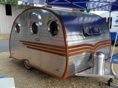 Vintage trailer by Konacoffeebean Tiny Trailers, Small Trailer, Vintage Campers Trailers, Retro Campers, Camper Trailers, Vintage Motorhome, Shasta Trailer, Classic Campers, Gmc Motorhome