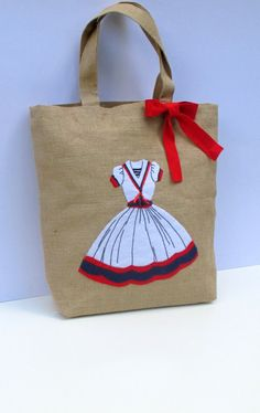 Items similar to RESERVED Summer Jute Tote bag with a vintage nautical  dress,handmade,applique, eco friendly, computer bag, unique, beach bag on  Etsy 8852f80f31