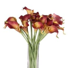 "NSSTAR 13"" Artificial Calla Lily Bridal Wedding Bouquet Latex Real Touch PU Flower Bouquets (Purplish Red, 10pcs) (520589502318) Real Touch Calla Lily Braidal Bounquet Imported Latex Artificial Flowers Ideal for decorating your home or office"