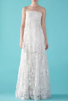 Lace, empire waist wedding dress. I dont like the top...but the bottom is nice