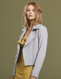 3b6714aff52 Wool Moto Jacket - Grey Marle - Coats and Jackets - Tops - Womens -  Superette