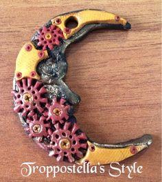 Troppostella's Style: Ciondolo Luna Steampunk in fimo