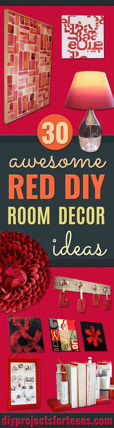 Cool DIY Room Decor Ideas in Red - Creative Home Decor, Wall Art and Bedroom Crafts to Accent Your Red Room - Creative Craft Projects and Quick Arts and Crafts Ideas for Teens and Adults - Easy Ways To Decorate on A Budget http://diyprojectsforteens.com/diy-room-decor-red