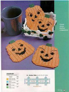 Pumpkin Coaster Set {S} Plastic Canvas Coasters, Plastic Canvas Ornaments, Plastic Canvas Christmas, Plastic Canvas Crafts, Plastic Canvas Patterns, Fall Patterns, Halloween Patterns, Loom Patterns, Halloween Canvas