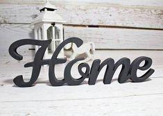 DUŻY Napis drewniany HOME litery 3D dekor 47x15cm