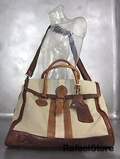Men's Shoulder Travel Bag LA MARTINA Leather Canvas Beige Handmade Limited New