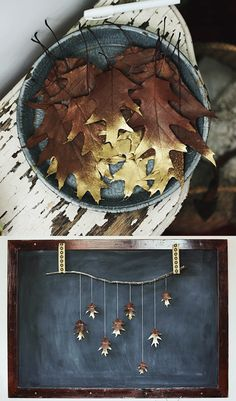 """Write what you're thankful for this season on <a href=""""http://www.thesweetestoccasion.com/2013/11/diy-leaf-garland/"""" target=""""_blank"""">gold-tipped leaves</a>, then hang them on a garland."""