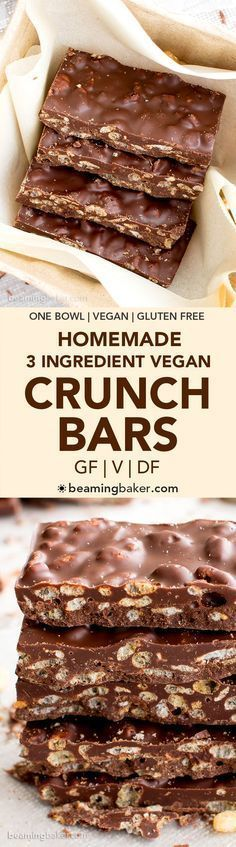 3 Ingredient Homemade Crunch Bars (GF, V, DF): a quick and easy gluten free vega. 3 Ingredient Homemade Crunch Bars (GF, V, DF): a quick and easy gluten free vegan recipe for deliciously crispy homemade crunch bars. Healthy Vegan Dessert, Vegan Treats, Healthy Sweets, Vegan Foods, Vegan Snacks, Healthy Meals, Healthy Vegan Brownies, Heathy Treats, Healthy Homemade Snacks