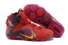 4f4d5e2301abc LeBron 12 Portland PE Bright Crimson Purple Gold Nike Shoes Online