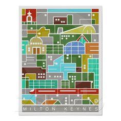 Milton Keynes panorama poster
