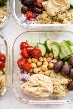 These simple, healthy, and delicious Mediterranean vegan meal prep bowls have quinoa, chickpeas, hummus, and an assortment of veggies. Easily prepare meals for the week with this recipe! Makes a tasty clean eating lunch or dinner. Simple Vegan Meals, Vegan Meal Prep, Lunch Meal Prep, Vegan Recipes Healthy Clean Eating, Healthy Dinner Recipes, Lunch Recipes, Whole Food Recipes, Keto Recipes, Salad Recipes