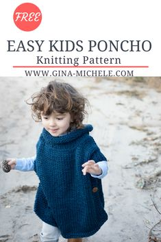 Free Knitting Pattern For This Super Easy Kid's Poncho Perfect , kostenloses strickmuster für diesen super easy kinderponcho perfekt , patron de tricot gratuit pour le poncho pour enfant super facile parfait Baby Knitting Patterns, Baby Sweater Knitting Pattern, Knitted Poncho, Knitting For Kids, Easy Knitting, Knitting For Beginners, Knitting Tutorials, Loom Knitting, Stitch Patterns