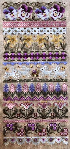 Exquisite Just Nan SPRING is in the AIR Band SAMPLER & Embellishment Beads Accessory Pack Kit - Counted Cross Stitch Pattern Chart