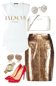 """""""Golden Fire"""" by church-fashion on Polyvore featuring Raoul, Balmain, Christian Louboutin, Michael Kors, Christian Dior and Marli"""