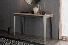 Nemo Extension Console Table with Beaver Fenix Top and Graphite Base
