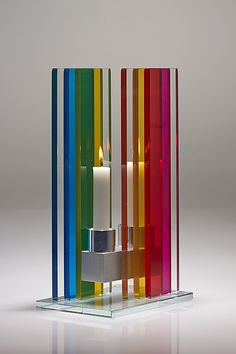 Unified Light Candle Holder by Sidney Hutter: Art Glass Candleholders available at www.artfulhome.com