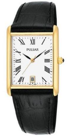 Pulsar PXDA82 Men's White Dial Black Leather Strap Quartz Watch
