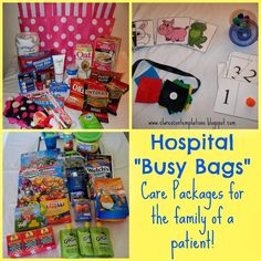 "Hospital ""Busy Bags""-often the families of a chronically or critically ill person spend long periods of time at the hospital. This post has lots of ideas for putting together a clever care package for the patient's family, both adults and kids! What a great way to show your love."