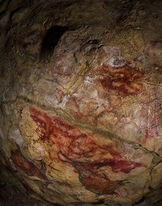 THE CORREDOR de los PUNTOS, EL CASTILLO Cave, Spain. Red disks here have been dated to years ago, and elsewhere in the cave to years, making them examples of Europe's earliest cave art. (Photo courtesy of Pedro Saura) Mystery Of History, Stencil Painting, Ancient Art, Rock Art, Spain, Old Things, Gallery, Artwork, Pictures