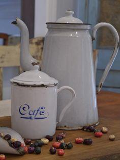 Enamelware. Brings back memories of my Grandmother's kitchen.