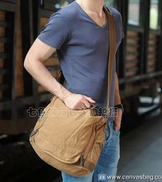 Military Style Leather Deco Canvas Messenger Shoulder Bag Army Green