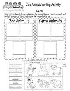 Do you know what animals live at the zoo? Students are asked to color the animals, trace their names, and then sort the animals that live at the zoo from the animals that live on a farm by completing a fun cut and paste activity. Pattern Worksheets For Kindergarten, Counting Worksheets For Kindergarten, Sorting Activities, Preschool Lessons, Preschool Crafts, Template, Zoo Animals, Printable Worksheets, Free Printables