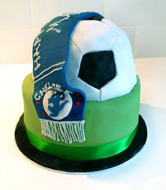 Chelsea Football Birthday Cake: Sponge with rose petal, rose liqueur, buttercream and  strawberries.