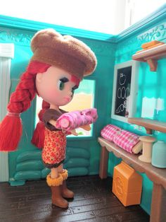 """""""My girl, Molly and some cloth for a new dress"""" ~ Andrea Alfaro's Littlest Pet Shop Blythe doll...love her hair!"""