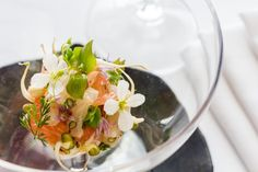 Fluke Fin, Pink Grapefruit, Sprouting Mung Beans, Radish Blossoms...