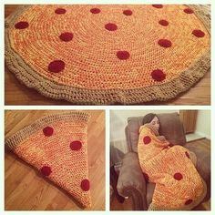 Crochet pizza blanket pattern for a whole pizza and not just a slice! Photo credit goes to Jade Stoner - https://www.instagram.com/p/otcDhHnZTW/