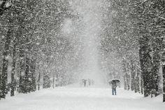 Nieve en Burgos, España.