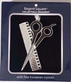 Regent Square COMB & SCISSORS Collectible Ornament w/Fine European Crystals
