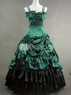 BEAUTIFUL Gothic Lolita Rococo Renaissance Green Bow Long Dress Gown - Milanoo.com