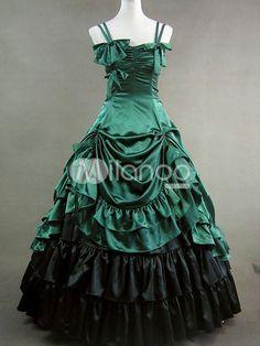 BEAUTIFUL Gothic Lolita Rococo Renaissance Green Bow Long Dress Gown - Milanoo.com