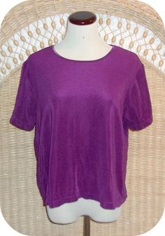 SUSAN GRAVER Womens Top Size XL Purple Short Sleeve Polyester Spandex #SusanGraver #KnitTop #CareerCasual