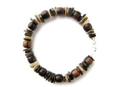 Mens bracelet - mens jewelry handmade from wood beads and real shell - Chocolate Surfer. $26.00, via Etsy.