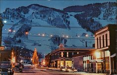 Winter Evening View of Town and Aspen Mountain Colorado