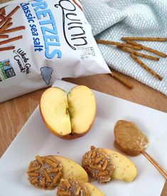 Easy after-school snack: apples dipped in peanut butter and rolled in our gluten free pretzels! The kids will love it! Gluten Free Pretzels, Apple Dip, Gluten Intolerance, After School Snacks, Apples, Peanut Butter, Dips, Rolls, Tasty