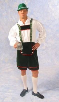 BAVARIAN OKTOBERFEST LEDERHOSEN ADULT MEN COSTUME GERMAN GREEN SHORT SUSPENDERS