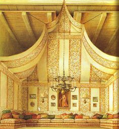 drawing of a tented room