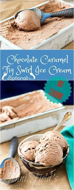 Chocolate Caramel Ice Cream is no-churn, easy to make with only 6 ingredients, and is the best chocolate ice cream you'll ever have. Swirl in any mix-ins you like. | http://pastrychefonline.com