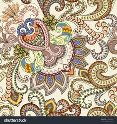 Seamless Colorful Paisley Pattern With Small Ornaments And Polka Dots, Decorated Swirls, On A Light Background Ilustración vectorial en stock 313666406 : Shutterstock