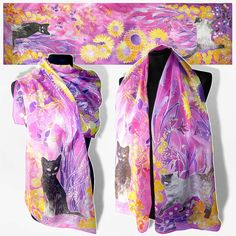 Long silk scarf CATS hand painted silk scarves by MinkuLUL
