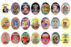 Garbage Pail Kids Oval Pendant Graphics 4 x 6 Sheet by Ribbonology