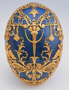Fabergé firm (Russian , 20th century) Henrik Wigström (Russian , 1862 - 1923) Imperial Czarevich Easter Egg 1912 Lapis lazuli, gold, diamonds, platinum or silver 5.75 x 4 (diameter) in. (on stand) 14.61 x 10.16 cm.(diameter) (on stand) Virginia Museum of Fine Arts Bequest of Lillian Thomas Pratt